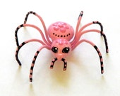 Reserved for Patrick Fancy Baby Pink Girlie Spider with Flowers Unique Gift for Friends School Chums Small Ornament for Shelf or Window sill