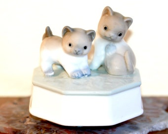 Otagiri Music Box Music Box Vintage Otagiri Cat Memory Kittens Otagari Japan Music Box Cats