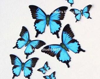 Small paper butterflies, Miniature blue paper butterfly set