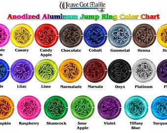 Chainmaille  Jump Rings 16-Gauge AWG 8mm ID Anodized Aluminum Jump Rings - 1/2 Ounce - Pick Your Color!