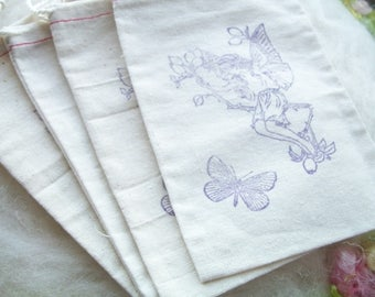 Close Out Muslin Pouch Vintage Fairy, Small Drawstring Pouch Small Stamped Pouch, Party Favors, Set of 4