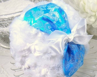 AQUA BLUE Brocade Powder Puff - satin brocade and white plush - pouf bleu - gift box option - handmade by Bonny Bubbles