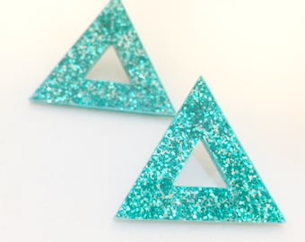 hollow triangle laser cut earrings (choose your colour) tri, glittler, aqua, black, rose, silver, gold, magenta, multi
