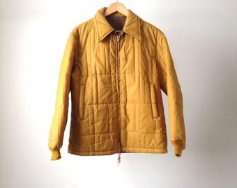 vintage parka SKI JACKET mustard yellow puffy 70s 80s jacket