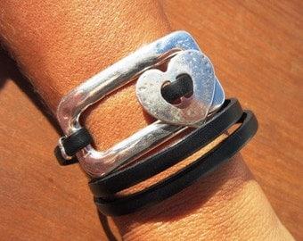 wrap bracelet, heart bracelet, heart jewelry, womens bracelets, silver bracelet, leather bracelet, beaded Bracelets, charm Bracelets