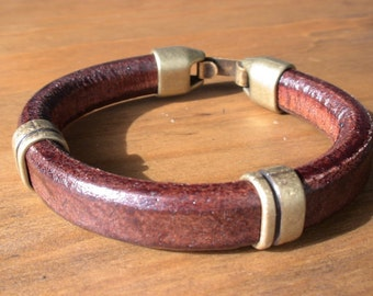 men's leather bracelet, men's silver bracelet, Brown leather bracelet, leather silver bracelet, Men's Jewelry, bracelets for him, dad gifts
