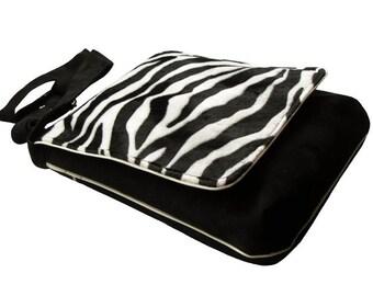 Original Bag with Zebra Pattern Flap, One Of A Kind Messenger Bag, Crossbody Bag, Eco Suede Vegan Bag, Flap Cover Bag, Adjustable Strap