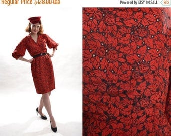 HALF PRICE SALE Vintage 1950s Red Eyelet Dress - Black Floral Taffeta - Holiday Fashions
