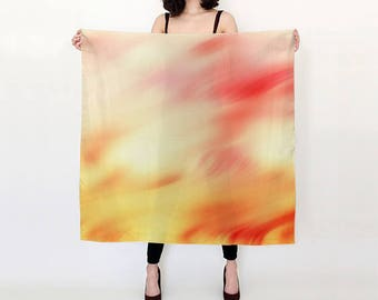 "Sunset Swish Pure Silk Square Scarf Large 26"" or Extra-Large 36"" Pink Orange Red Hues"