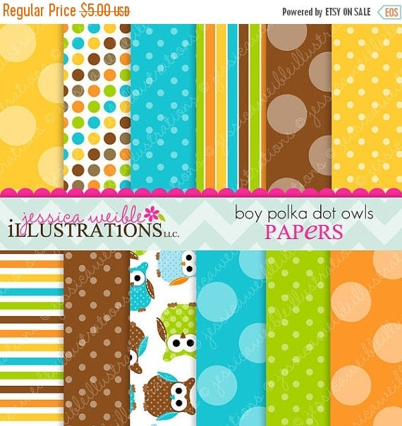 ON SALE Boy Polka Dot Owls Cute Digital Papers Backgrounds for Invitations, Card Design, Scrapbooking, and Web Design