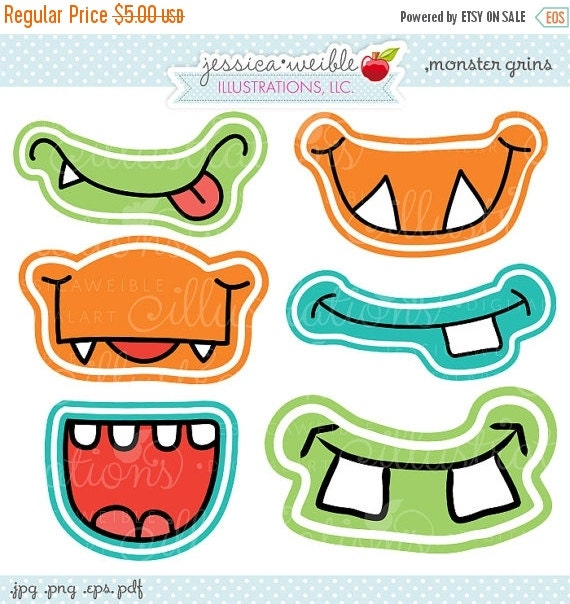 ON SALE Monster Grins Cute Printable Birthday Party Favors - Printable Monster Smiles, Monster Faces