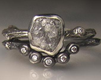 Rough Diamond Ring, Raw Diamond Twig Ring, Rough Diamond Engagement Set