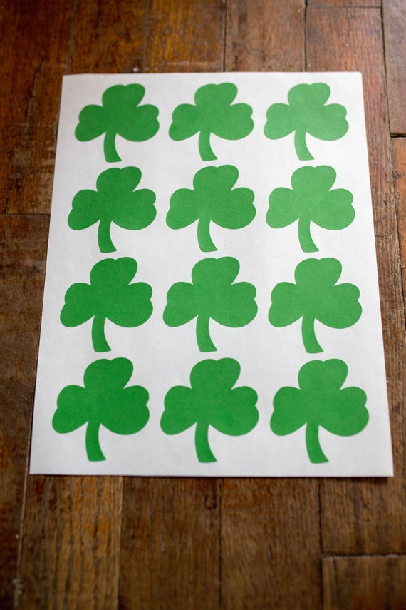 Clover Labels- 2.36 in x 2.5 in- Set of 12-Planners, Scrapbooking, Invitations, Packaging, Party Favors, Saint Patricks Day, Green