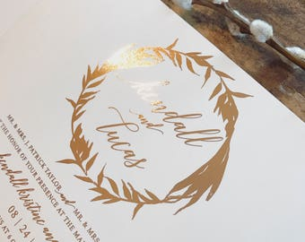 Gia Wreath Wedding Invitation Suite with Twine Tie and Monogram Tag - Rose Gold FOIL (colors/text customizable)