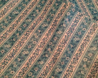 Blue and White Striped Floral Fabric Vintage