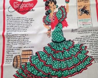 Vintage Dish Towel Tea Towel Spain Spanish Gazpacho