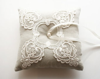 Ring Bearer Pillow, Ring Cushion, Lace Ring Pillow
