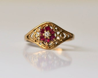 Ruby and Diamond Ring, 10KT Gold Vintage  Floral Pattern, Yellow Gold Wedding Ring Size 5 3/4.