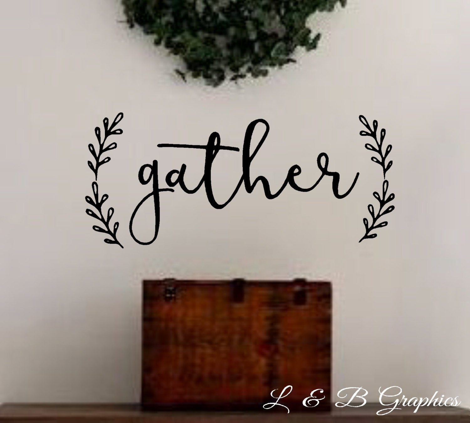 Wall Decor Gather : Gather with laurel vinyl wall decal dining room kitchen