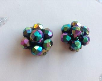 Vintage Carnival Glass Earrings, Clip on