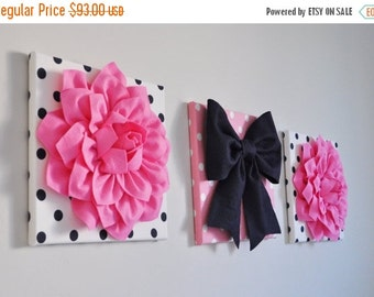 """SALE Pink, Navy & White Wall Decor - Flowers and Navy Bow on Polka Dot 12 x 12"""" Canvases Wall Art - Baby Nursery Wall Art Bright Pink Navy B"""