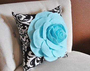 SALE Decorative Pillows Aqua Blue Rose on Black and White Damask Accent Pillow Couch Bed Sofa Black & White Pillow