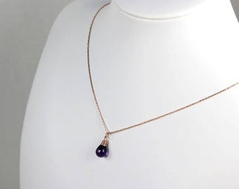 Amethyst Necklace Purple Rose Gold Wrapped Pendant Gemstone February Birthstone Necklace