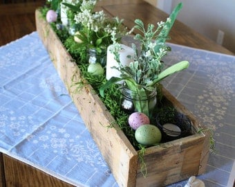 Long Wood Farmhouse Box | Rustic Wood Box | Wooden Trough Box | Long Box | Wooden Long Box