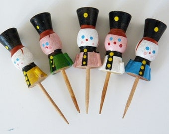 Vintage soldier Birthday cake candle holders wooden