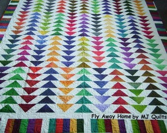 """Handcrafted-Benartex """"Fly Away Home"""" Queen/Full Quilt-Designed by: Nancy J. Smith-Made in USA by MJ Quilts- Approximately 76"""" X 84"""""""
