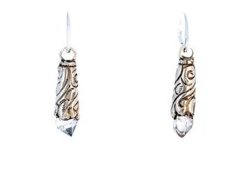 HERKIMER DIAMOND EARRINGS Etched Sterling Silver Drops New World Gems