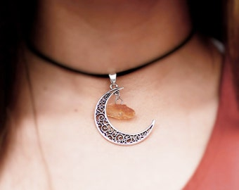 Crescent Moon Choker Necklace - Boho Necklace - Womens Gift For Her - Boho Jewelry - Tiny Gemstone Choker - Silver Crescent Necklace Charm