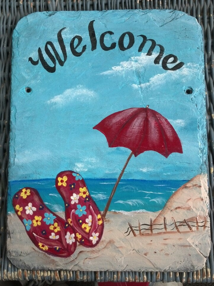Hand Painted Slate Welcome Sign Beach And Flip Flops Or Your