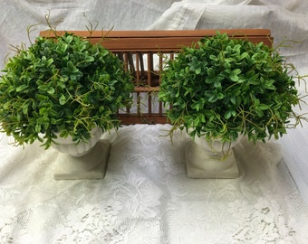 Farmhouse Boxwood Urns / Pair of Urns with Faux Boxwood