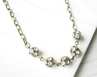 Clear Rhinestone Necklace, Modern Bridal Jewelry, Simple Wedding Accessory, White, Antiqued Brass, Adjustable, Gold Toned