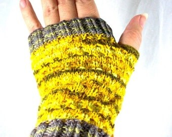 Holiday SALE Fingerless Mitts Knit in Multistripe Yellow and Gray OOAK