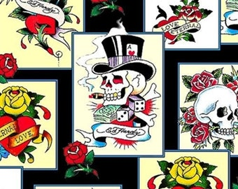 Ed Hardy Love is True Overlapping Patches from Quilting Treasures - Full or Half Yard Skulls, Roses, Tattoo Fabric