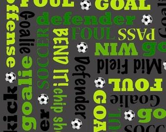 Score from Benartex - Full or Half Yard Soccer Terminology on Gray - Lime Black Gray soccer Fabric