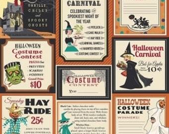 Trick or Treat from Penny Rose Fabrics - Full or Half Yard Treat Main Orange - Halloween Ads