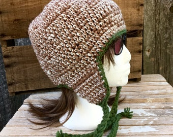 Earflap Hat, Women's Crochet Earflap Hat in Brown and Off White Marled and Green Ties, Beanie, Women's Beanie with Flaps, Winter Hat