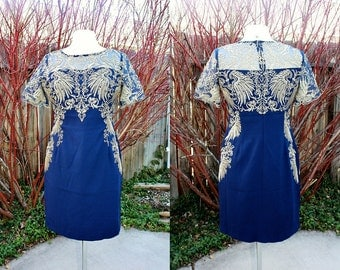 1990's Navy Blue And Gold Metallic Embroidered Sheath Dress Small Medium Large Asian Vintage Retro 90s Party Evening