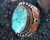 Nepal Turquoise Ring-Mosaic-Free Shipping-Bold ring-Nepali Jewelry -Large Size US 10 and US Size 11 Ring-Mens Jewelry- Kuchi -Kucchi Tribals