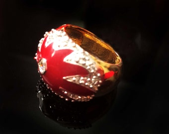 Turkish ring,Holiday Red & Gold Ring,Victorian Jewelry,mid century antique inspired,artisan,Edwardian Jewelry  by TANEESI