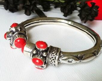 Coral Bangle Bracelet,Silver Bangle ,Adjustable, Tribal stackable bangle  bracelet,Vintage, womens bracelet by TANEESI