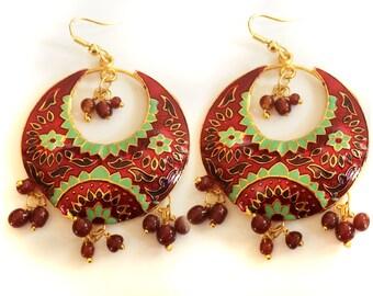 Crescent Earrings,Red and Green Earrings,Chandelier,Jaipur Chand Bali, SUNRISE Earrings Moon earrings Gold Earrings by Taneesi