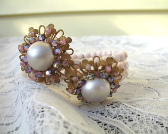 Vintage 1950's Miriam Haskell Style Pink Glass Pearl & Rhinestone Memory Wire Wrap Bracelet