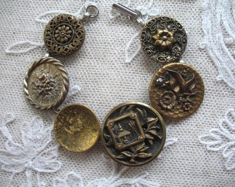 Vintage Antique Button Bracelet