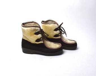 1960's After Ski Boots, Muk Luk Moccasin Toe Leather Boots, Made in Italy