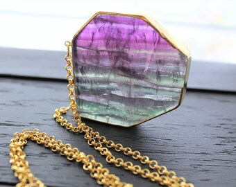 Fluorite Necklace Fluorite Jewelry Rainbow Necklace Rainbow Jewelry Gold Fluorite Necklace Natural Rainbow Fluorite Boho Necklace Angel Aura