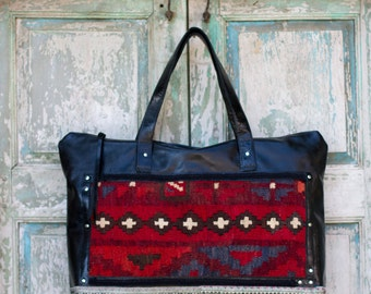 Handmade Black Italian Leather Weekender Bag, Overnight Bag, Diaper Bag, Work Bag,  with vintage Turkish Rug highlights